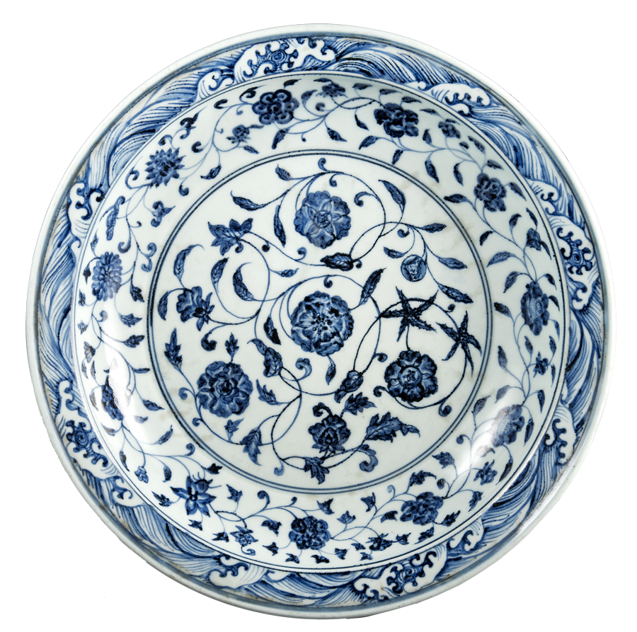 Plato de porcelana azul y blanca de época safávida